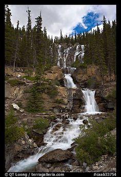 Multi-tiered Tangle Falls. Jasper National Park, Canadian Rockies, Alberta, Canada