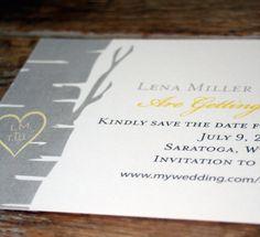 Modern Wedding Invitation : Birch Tree with Heart Save the Date-custom. $2.28, via Etsy.
