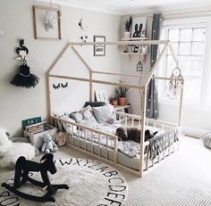 You can make the room of the little one of the house the most fun and stylish of all. Contact us for your Montessori bed, link in bio . Floor Bed Frame, House Frame Bed, Montessori Toddler Rooms, Montessori Bedroom, Baby Bedroom, Girls Bedroom, Boy Room, Big Girl Rooms, Toddler House Bed