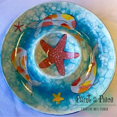 Koi fish chip and dip plate created with BUBBLES!!! Made by staff at Paint a Piece in Germantown, TN.