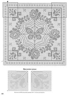 "Photo from album """"Вязание крючком"" on Yandex. Crochet Bedspread, Crochet Tablecloth, Crochet Pillow, Crochet Doilies, Filet Crochet Charts, Cross Stitch Charts, Cross Stitch Patterns, Crochet Patterns, Butterfly Cross Stitch"