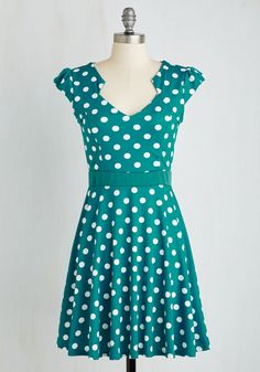 The Story of Citrus Dress in Teal Dots. It was as if the fates knew you'd been looking for that perfect spotted frock to add some serious style to your day-to-day wardrobe. #green #modcloth