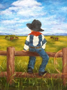 Boy Cowboy Painting, Country Boy Wall Art, Western Cowboy Art Print, Country Western Art via Etsy Easy Canvas Painting, Easy Paintings, Painting For Kids, Painting & Drawing, Watercolor Paintings, Canvas Art, Children Painting, Boy Wall Art, Western Art