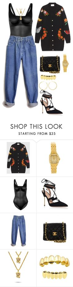 """""""Untitled #2655"""" by mollface ❤ liked on Polyvore featuring Gucci, Cartier, Wolford, Kurt Geiger, Jordache, Chanel and The Gold Gods"""