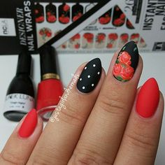 Black and Red Matte Rose Nail Design