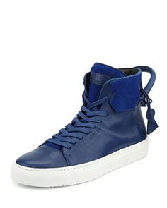 125mm Cavalino High-Top Leather Sneaker with Padlock, Blue/White by Buscemi at Bergdorf Goodman. These are TOUGH!!!!