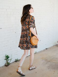 Styling a boho dress three ways. Printed boho dress+camel lace-up flat sandals+camel crossboy bag+sunglasses. Summer Casual Outfit 2017
