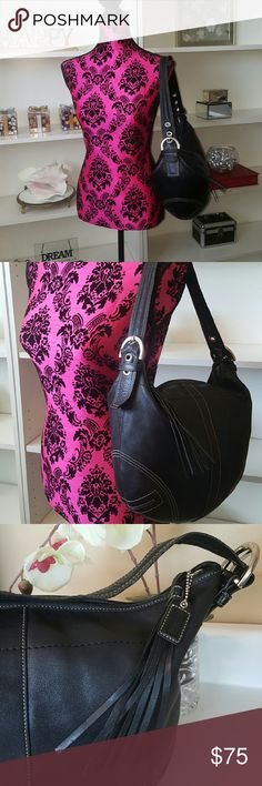 "Vintage Coach Black Leather Hobo Handbag Pre-owned. Coach handbag in excellant vintage condition. 13"" x 11"", fringe zipper closure with Coach logo tag, one inside zip pocket and two pockets to hold cell phone, keys or lipgloss. The stiching is tight, lining is clean, no rips or stains, soft supple leather, superficial scratches to silvertone metal detailing.  Beautiful handbag. Coach Bags Satchels"