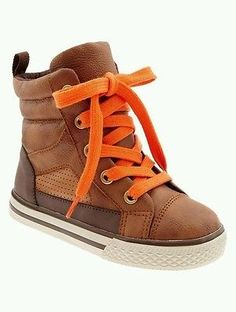 Baby Gap boys 9 toddler brown boots high top shoes orange laces
