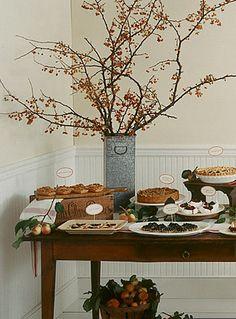 tablescape dessert table autumn rustic from martha stewart