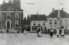 Breda.  Prinsenhage - Haagsemarkt.  Ca. 1915.   Links het raadhuis en op de achtergrond het Mariaklooster en achter de gedenknaald op nummer 6 de pastorie.