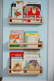 Ikea hack (thanks @jess): spice racks-kid's bookshelves