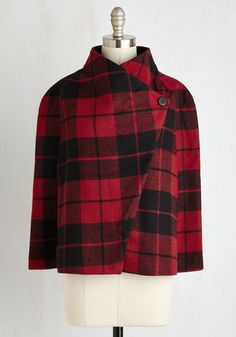 Talk of the Uptown Cape in Ruby Plaid From the Plus Size Fashion Community at www.VintageandCurvy.com
