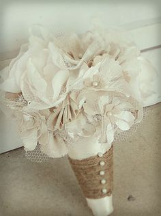 Rustic Wedding Bouquet  Fabric Bouquet  Wedding by ZoeyCatherine, $195.00