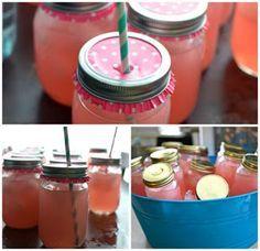 "pink lemonade in mason jars with cupcake liner ""lids"" and striped straws Birthday Fun, Birthday Parties, Picnic Foods, Cupcake Liners, Summer Picnic, Outdoor Parties, Kaja, Pink Lemonade, Party Drinks"