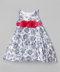 Another great find on #zulily! Gray & Red Floral Pleated Dress - Infant by Nannette #zulilyfinds