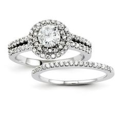 303fb2172 Diamond Rings : Certified 1.52 Ct. Round Cut Diamond Halo Bridal Engagement  Ring Set in