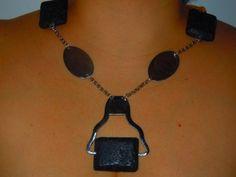 collar con colgante tenedor y piedra de lava de nl paperbead por DaWanda.com