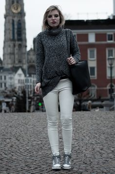 TOUCH THE SKY by ROWAN REIDING    RED REIDING HOOD    #sweater #grey #black #melange #turtleneck #big #oversized #boyfriend #leather #white #faux #H #pants #trousers #Nike #Dunk #Sky #Hi #shopper #Zara #Antwerp #comfy #blogger #outfit #wearing #shopping #Antwerp #girl #hair #tuckedin #messy #wild All Nike Shoes, Discount Nike Shoes, Nike Shoes For Sale, Nike Sneakers, Nike Dunks, What I Wore, White Jeans, Heather Grey, Cool Style