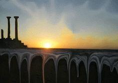 tony danis Fantasy World, Greece, Digital Art, Backgrounds, Magic, Celestial, Sunset, The Originals, Painting