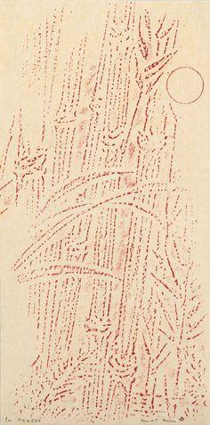 Max Ernst ~ La rousse, 1966 (frottage, crayon)