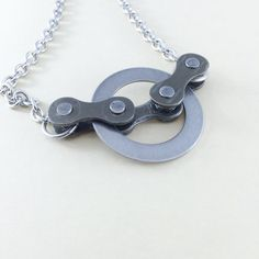 bicycle chain and steel circle bike jewelry by WanderingJeweler