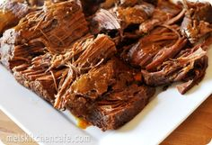 This is. HANDS DOWN, the best pot roast recipe EVER! After its cooked I mix it with BBQ sauce and serve it on rolls with side dishes of potato salad and corn on the cob. Delicious.