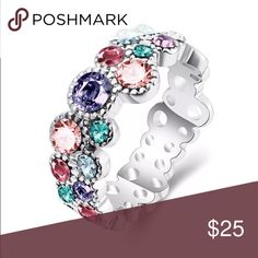 Beautiful Colorful CZ Sterling Silver Ring Brand New .925 Stamped Jewelry Rings