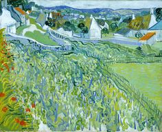 "Vincent Van Gogh, Vineyards with a View of Auvers, oil on canvas, 25.5"" x 31.5"""
