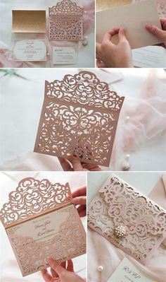 rustic elegant pink laser cut pocket wedding invitation suite with pearl ornament to Easily Create Your Own Elegant Wedding Invitations White Cheap Wedding Invitations Pocket, Elegant Laser Cut Wedding Invitations Quince Invitations, Discount Wedding Invitations, Spring Wedding Invitations, Laser Cut Wedding Invitations, Pink Invitations, Wedding Invitation Wording, Elegant Wedding Invitations, Wedding Stationery, Invitation Suite
