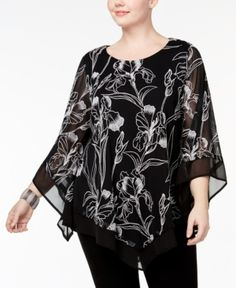 Alfani Plus Size Embroidered Poncho Top, Created for Macy's - Black 2X