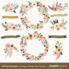 FALL FLORAL WREATHS CLIP ART  These are the perfect graphics to create your Wedding Invitations, Save the Date Cards, Bridal Shower Invitations, Scrapbooking, Cupcake Toppers and anything you want!!  You will receive:  - 12 images of FALL FLORAL WREATHS CLIP ART on EPS files easy to edit in Adobe Illustrator. The size is approximately 8 inches.  - 12 images of FALL FLORAL WREATHS CLIP ART on PNG files with transparent background. The size is approximately 8 inches.  If you have any…