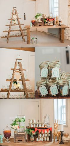 Beautiful Woodland Themed Baby Shower. I love the ladder shelving to display the glasses. I wouldn't recommend it for a children's party though! Although the kids could play a fun game with Solo cups instead.