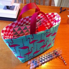 New bag for the rainbowloom. #zeeman #teatowel. #flamingo. Instagram: sonnevonne