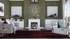 Roomstyler.com - Green walls Green Walls, Oversized Mirror, Living Room, Furniture, Design, Home Decor, Decoration Home, Room Decor