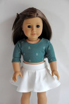 18 Inch Doll Clothes    Sage Green Crop Top with Arrows and Ivory/Cream Skater Skirt    made to fit dolls such as American Girl