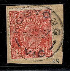 AUSTRALIA - 1927 - SCARCE CDS OF KOOYONG, VIC (RATED RR) ON SG87 1 1/2d SCARLET