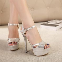 Sexy Peep toe Ankle Strap Sandals in Silver and Gold Hot High Heels, Platform High Heels, High Heels Stilettos, High Heel Boots, Womens High Heels, Stiletto Heels, Shoes Heels, Ankle Heels, Pencil Heels