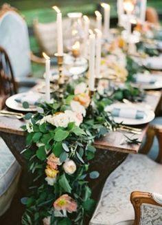 Green Tablescape Wedding Reception Centerpiece