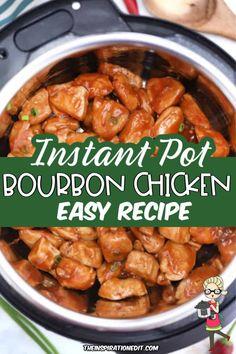 Best Instant Pot Recipe, Instant Pot Dinner Recipes, Healthy Dinner Recipes, Lunch Recipes, Instant Pot Pressure Cooker, Pressure Cooker Recipes, Poulet Au Bourbon, Bourbon Chicken, Easy Chicken Recipes
