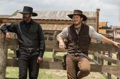 Still of Denzel Washington and Chris Pratt in The Magnificent Seven (2016)
