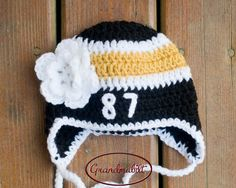 BABY HOCKEY HAT Girls Helmet Black Gold White by Grandmabilt, $23.00