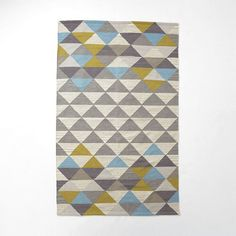 Color Palette - Special $296 - Sarah Campbell Mosaic Triangles Wool Dhurrie - Wave | West Elm