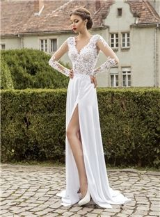 Long Sleeves Floor-Length Garden/Outdoor Spring V-Neck Fall Zipper-up Lace Wedding Dress