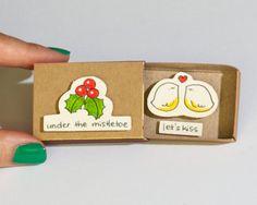 Cute Christmas Card/ Love Christmas Card/ Couples Christmas Card/ Kissing Card/ Under The Mistletoe