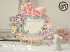 This card themed the Easter Egg. The simple tutorial was posted by the Graphic45 blog.Please visit it!