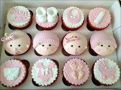 Cupcakes, Baby Girl Themes Decoration For Modern Baby Shower Cake 00407: Cute Baby Shower Cakes Design & Decoration