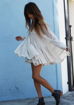 off-white tiered dress