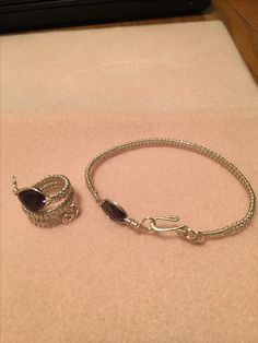 Silver wire weaving set by Mary Drayer in amethyst