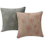 Set of 2 Dandelion Floral Cotton/Linen Decorative Pillow Cover – EUR €